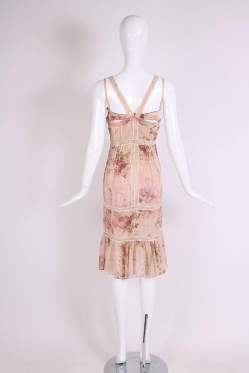 John Galliano Floral & Signature Print Dress W/Lace & Pintucking 5
