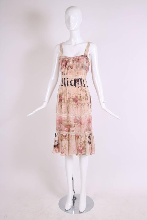 John Galliano Floral & Signature Print Dress W/Lace & Pintucking 3