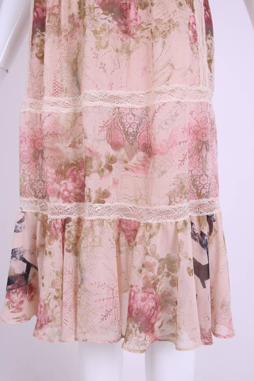 John Galliano Floral & Signature Print Dress W/Lace & Pintucking 7