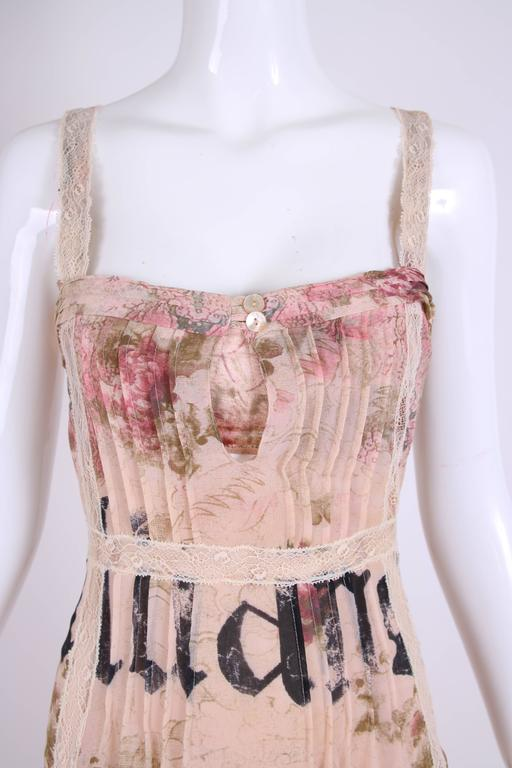 John Galliano Floral & Signature Print Dress W/Lace & Pintucking 6