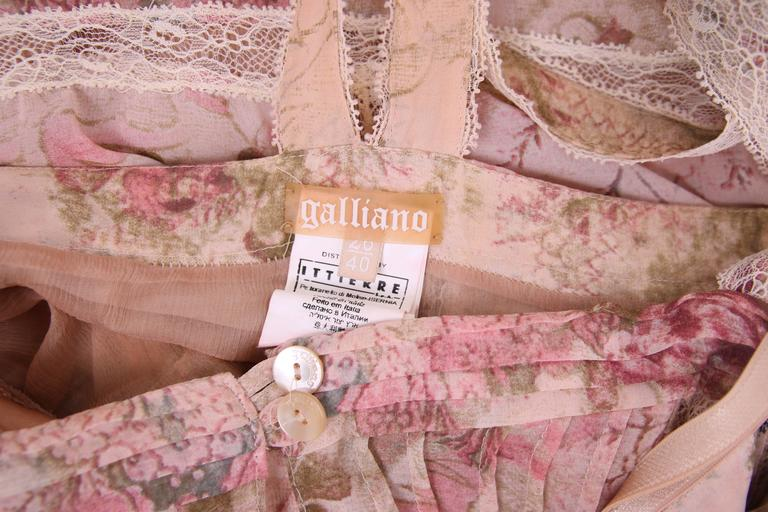John Galliano Floral & Signature Print Dress W/Lace & Pintucking 9