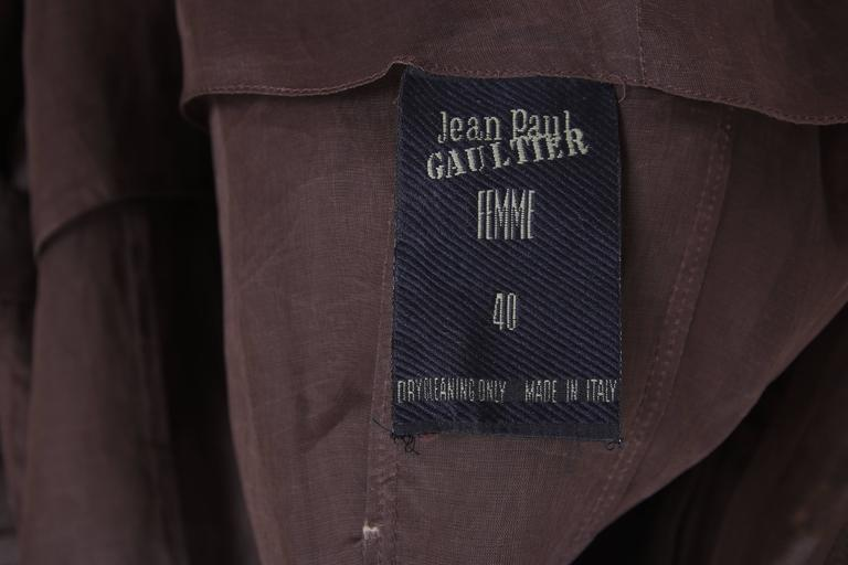 Jean Paul Gaultier Brown Sheer Silk Gazar Coat Dress c.1995-1998 4