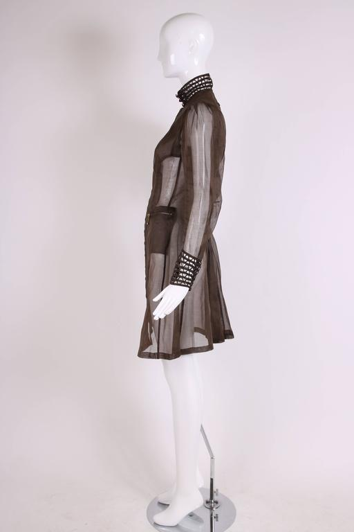 Jean Paul Gaultier Brown Sheer Silk Gazar Coat Dress c.1995-1998 In Excellent Condition In Los Angeles, CA
