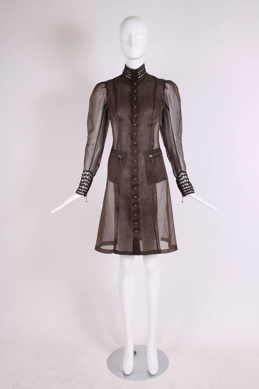 Black Jean Paul Gaultier Brown Sheer Silk Gazar Coat Dress c.1995-1998
