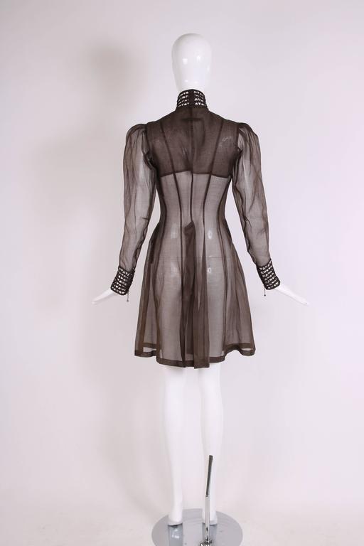 Women's Jean Paul Gaultier Brown Sheer Silk Gazar Coat Dress c.1995-1998