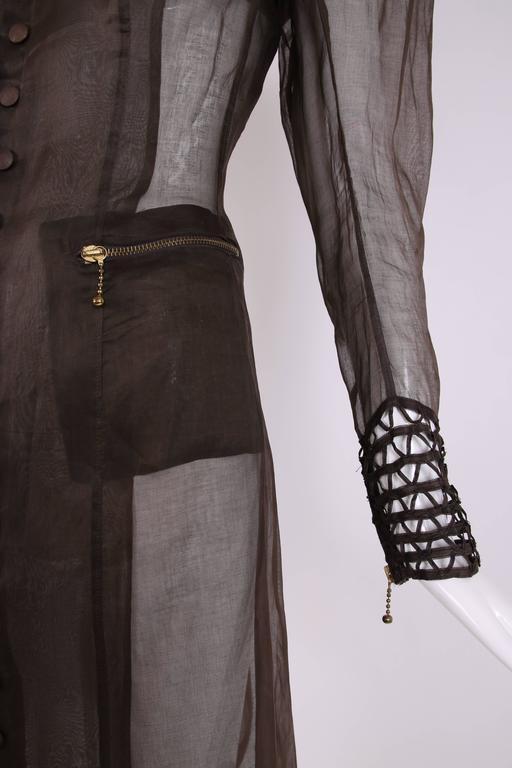 Jean Paul Gaultier Brown Sheer Silk Gazar Coat Dress c.1995-1998 2