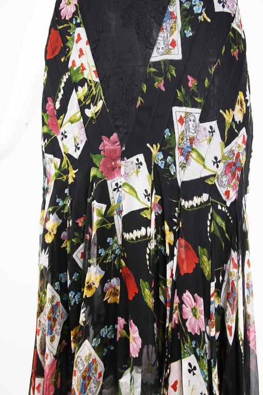Christian Dior by Galliano Chiffon & Lace Playing Card Print Cocktail Dress For Sale 1