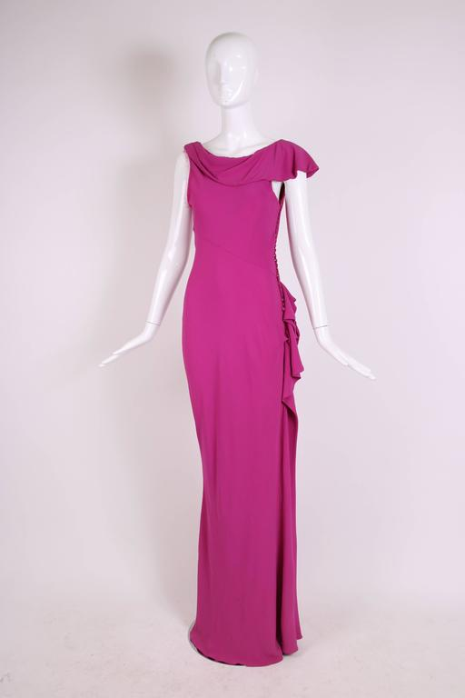 Christian Dior by John Galliano Bias-Cut Pink Crepe Evening Gown In Excellent Condition For Sale In Los Angeles, CA