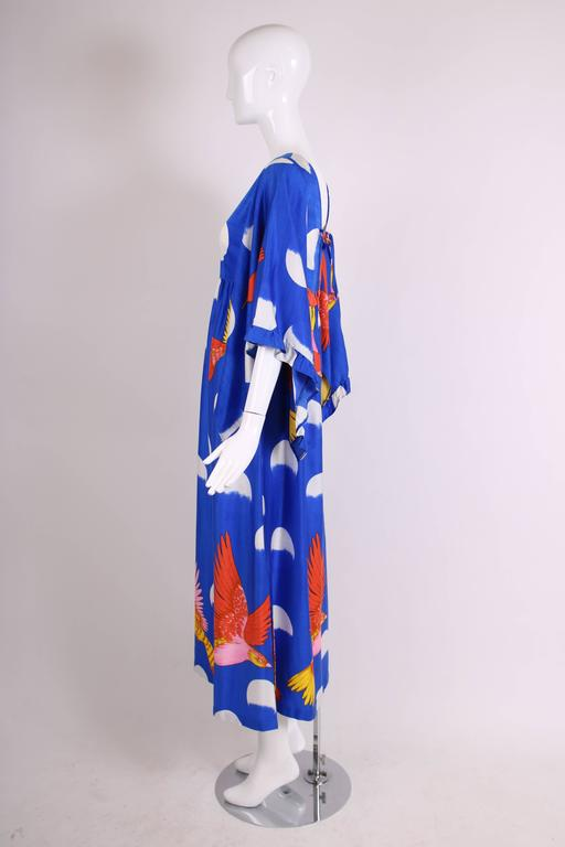 Rare 1970's Hanae Mori Novelty Print Maxi Dress w/Angel Wing Sleeves  For Sale 1