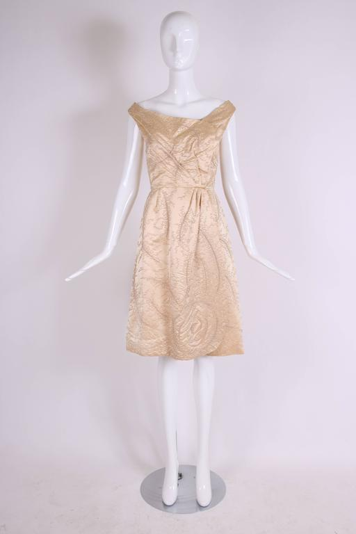 Ceil Chapman Champagne Colored Satin Beaded Cocktail Dress