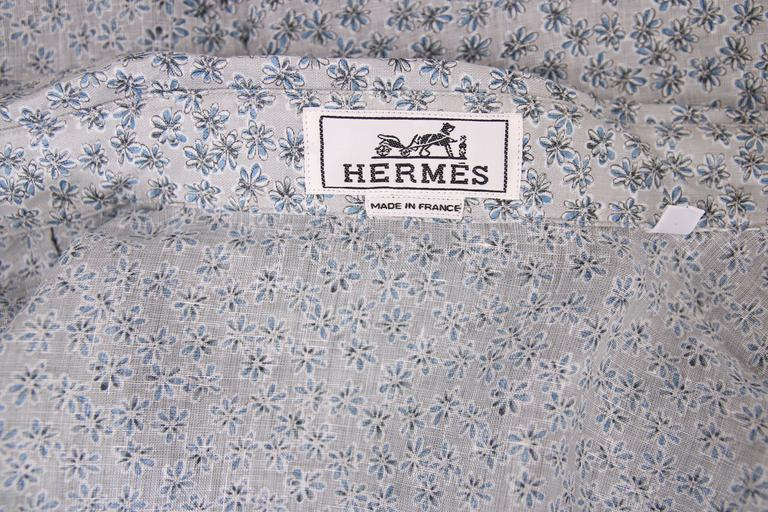 Hermes Men's Pale Blue Linen Button Down Long Sleeve Floral Print Shirt 6
