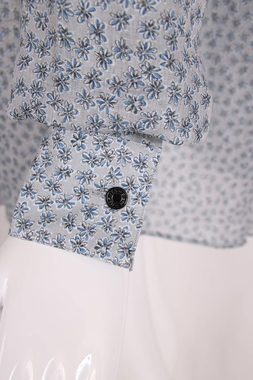 Hermes Men's Pale Blue Linen Button Down Long Sleeve Floral Print Shirt 5