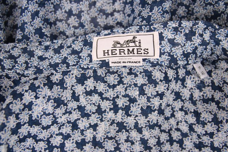 Hermes Men's Blue Linen Collared Button Down Long Sleeve Floral Print Shirt For Sale 3