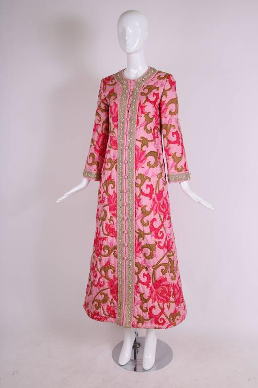 1970 S Malcom Star Rpink Printed Quilted House Coat W