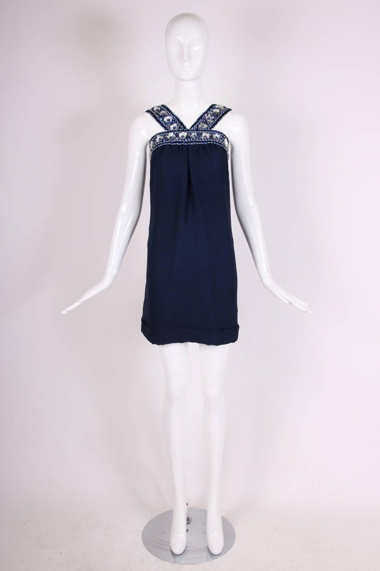 Black Pierre Cardin Haute Couture Blue Silk Cocktail Dress w/Beaded Trim Ca.1966 For Sale