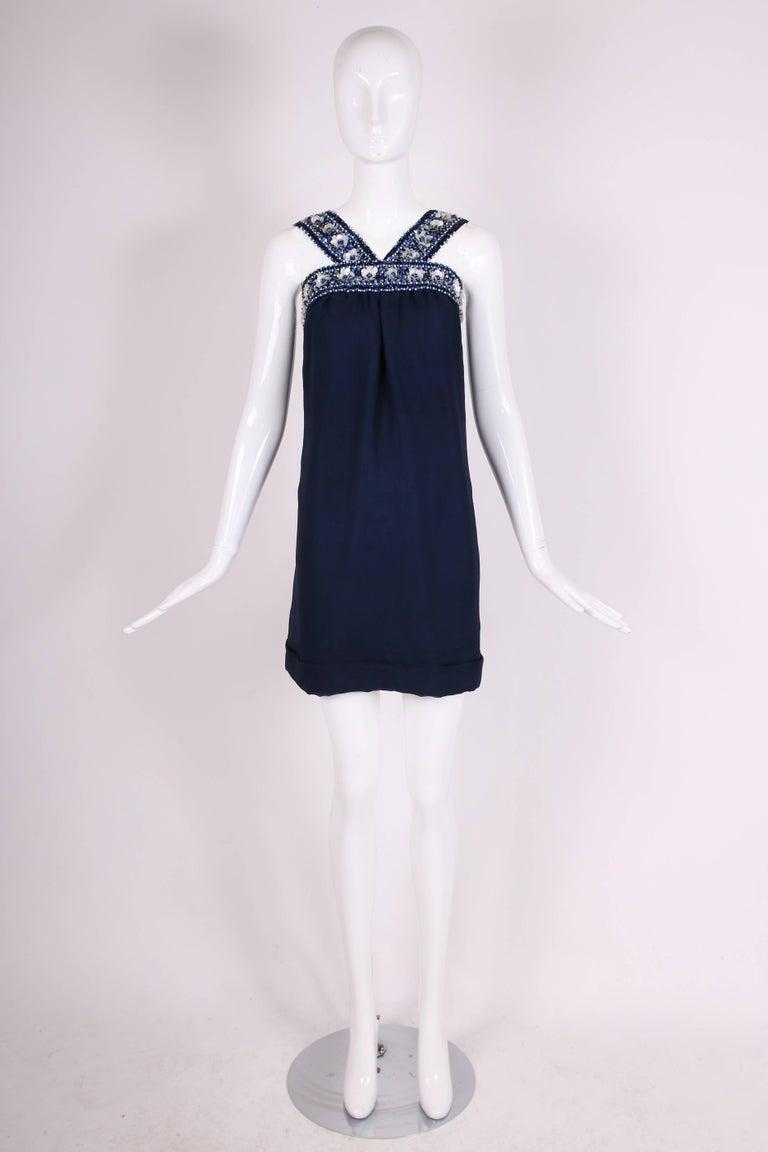 Pierre Cardin Haute Couture Blue Silk Cocktail Dress w/Beaded Trim Ca.1966 3