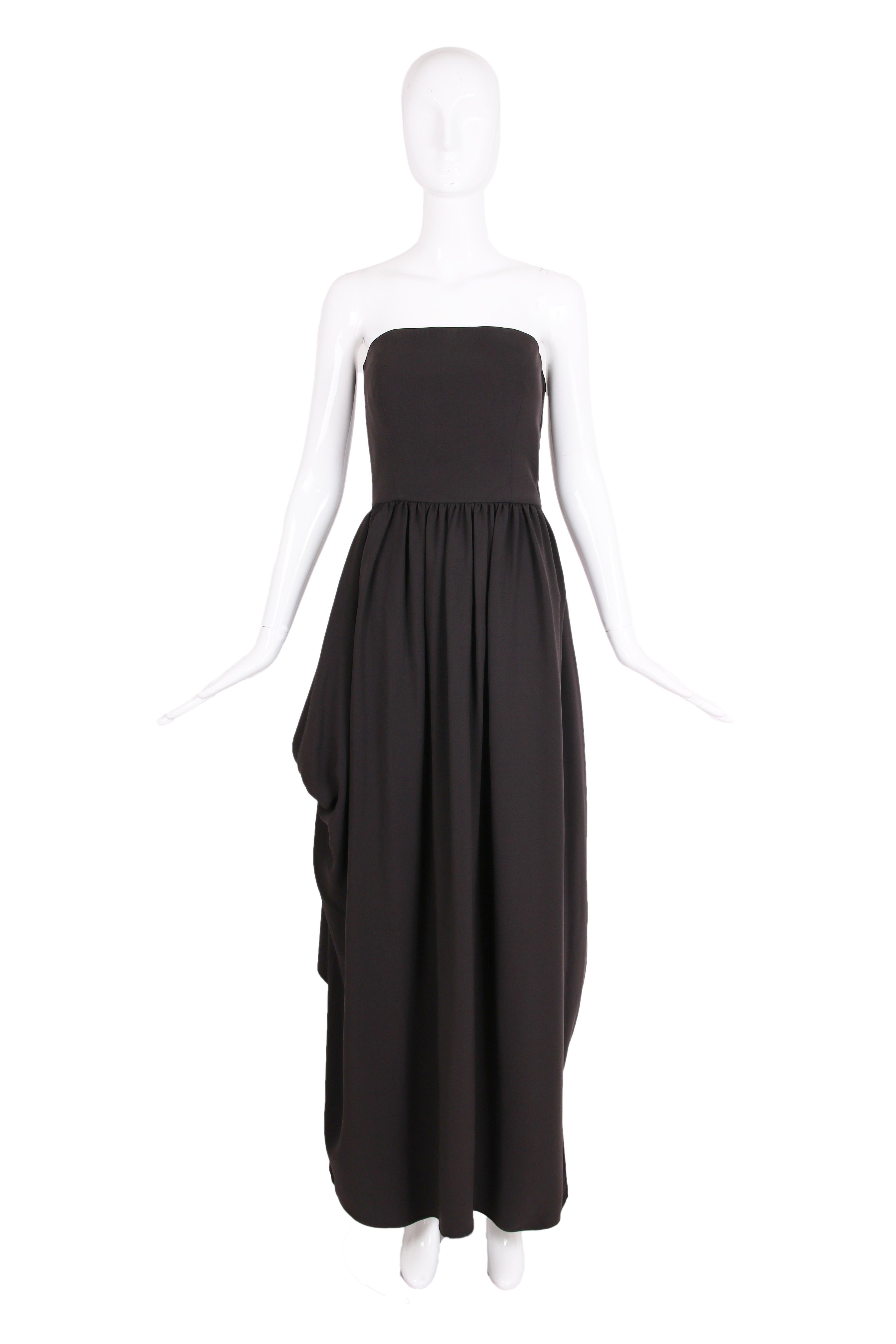 Giorgio Armani Brown Silk Strapless Evening Gown w/Asymmetric Open ...