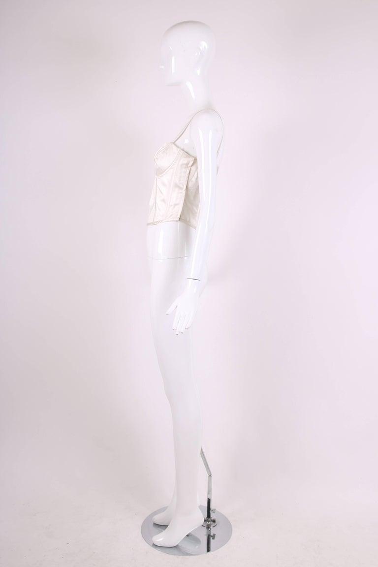 1995 Gianni Versace Ivory Satin Bustier w/Overstitching & Trapunto Detail 3