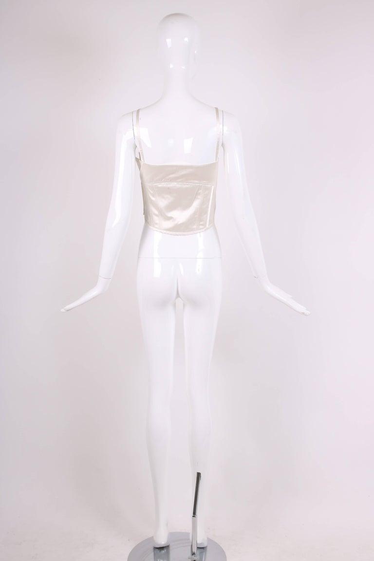 1995 Gianni Versace Ivory Satin Bustier w/Overstitching & Trapunto Detail 4