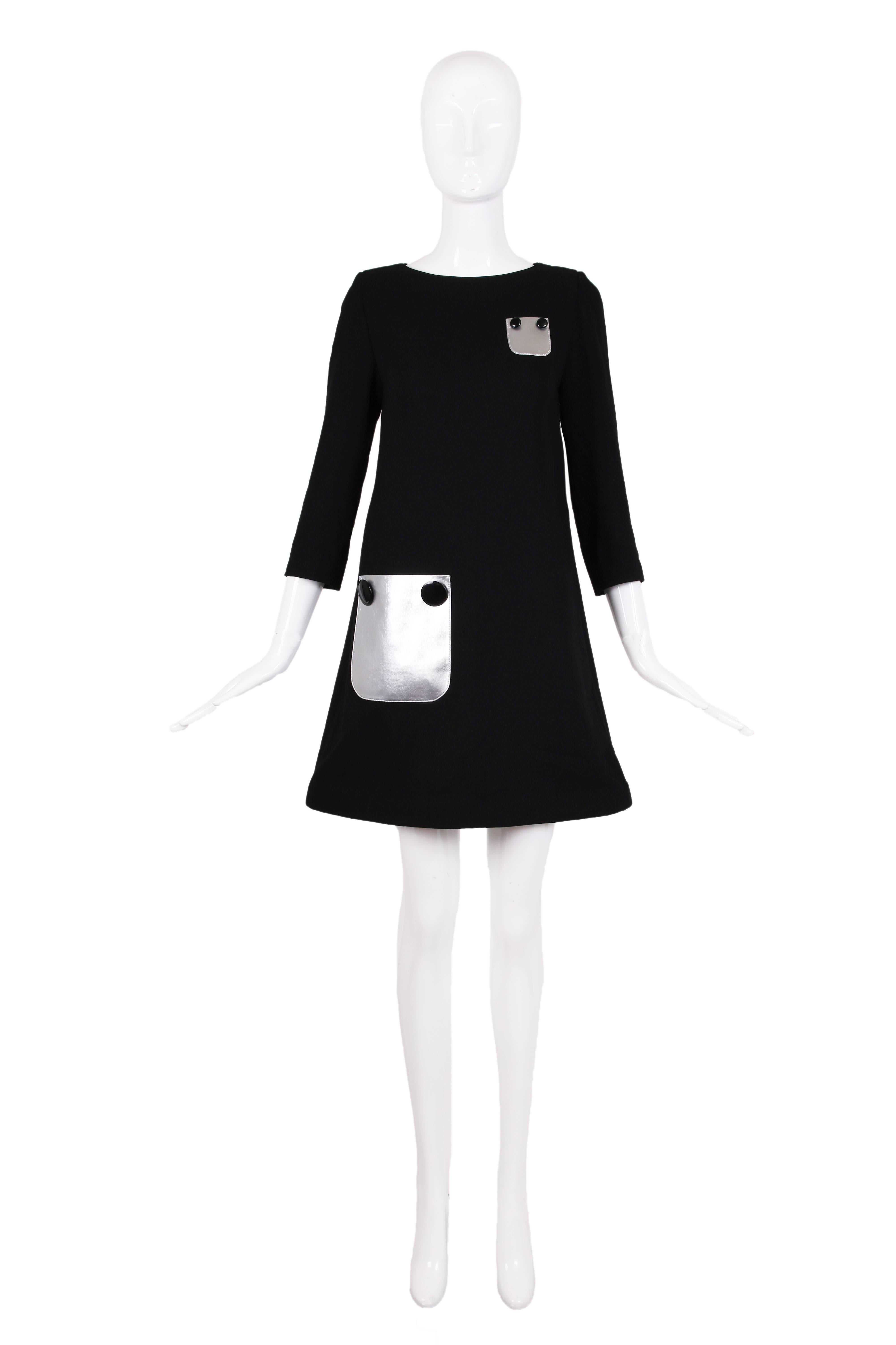 f2cbdaacc5a14 Pierre Cardin Haute Couture Mod Black Cocktail Dress w/Silver Pleather  Pockets For Sale at 1stdibs