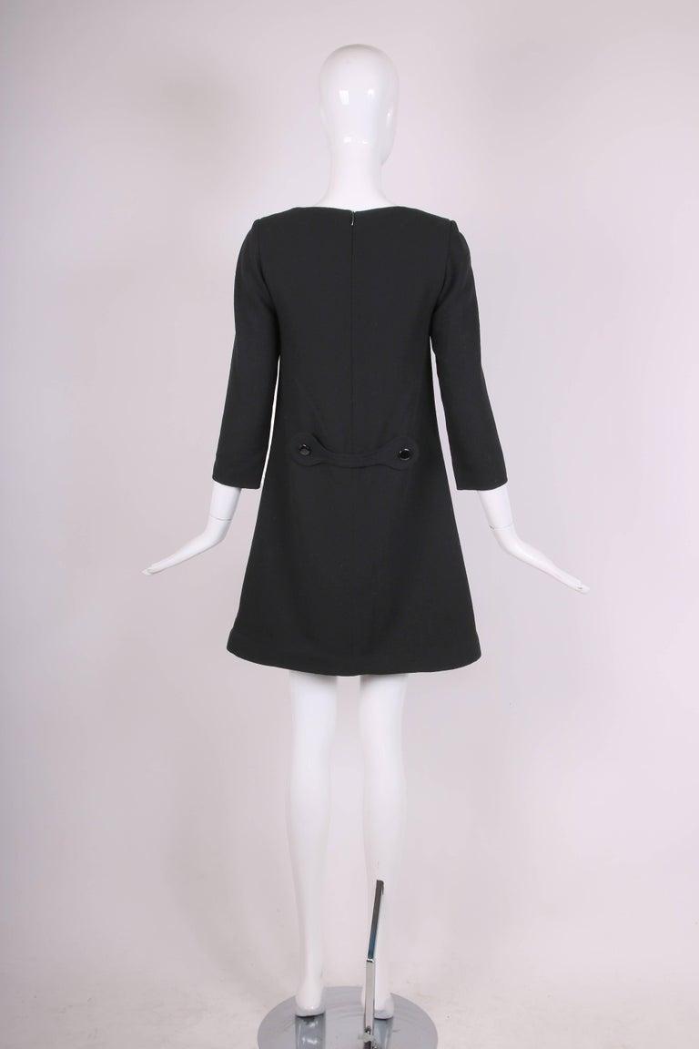 Pierre Cardin Haute Couture Mod Black Cocktail Dress w/Silver Pockets 5
