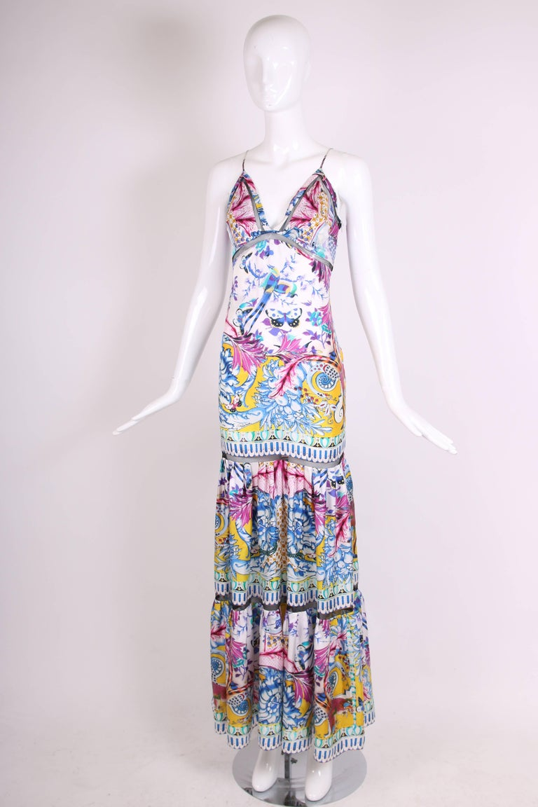 169a4a2096 Gray Roberto Cavalli Colorful Printed Silk Maxi Dress w/Tiered Skirt For  Sale
