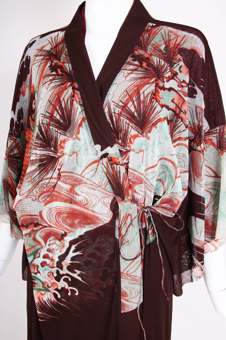 Jean Paul Gaultier Double Layered Mesh Kimono w/Japanese Inspired Print For Sale 1