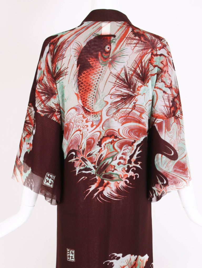 Jean Paul Gaultier Double Layered Mesh Kimono w/Japanese Inspired Print For Sale 2