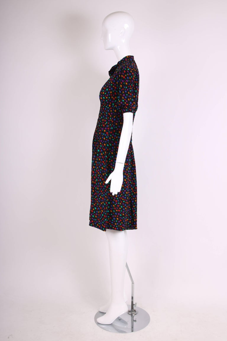 Vintage Yves Saint Laurent Silk Star Print Day Dress w/Ties at Neck 4