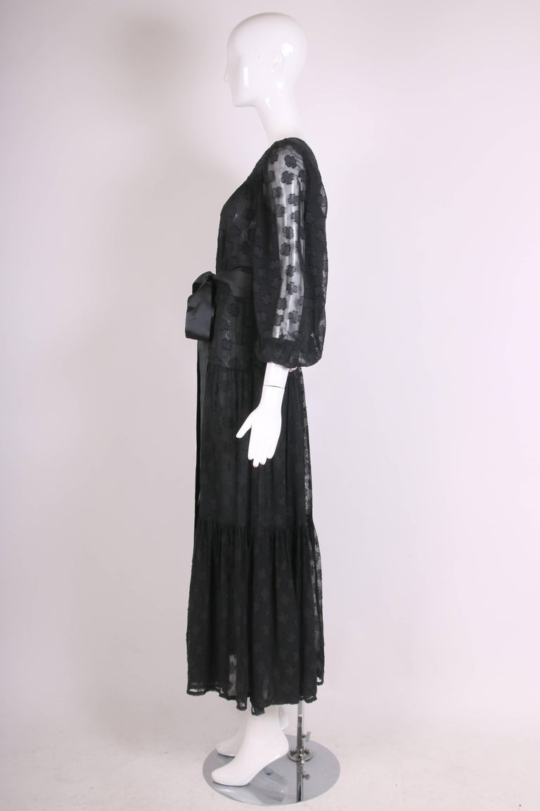 1980 Yves Saint Laurent YSL Black Sheer Tiered Maxi Dress w/Peasant Sleeves 4
