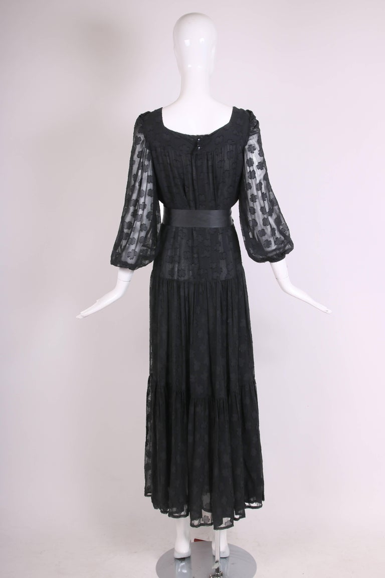 1980 Yves Saint Laurent YSL Black Sheer Tiered Maxi Dress w/Peasant Sleeves 5