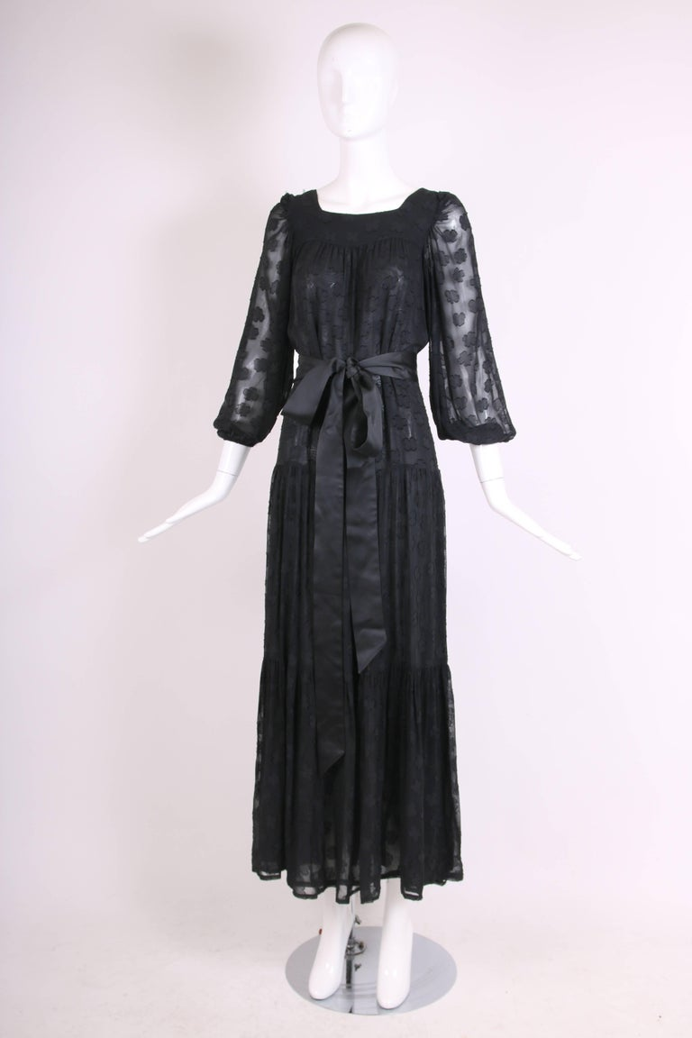 1980 Yves Saint Laurent YSL Black Sheer Tiered Maxi Dress w/Peasant Sleeves 3