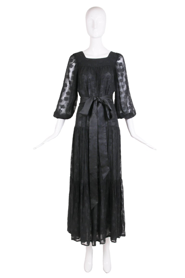 1980 Yves Saint Laurent YSL Black Sheer Tiered Maxi Dress w/Peasant Sleeves 2