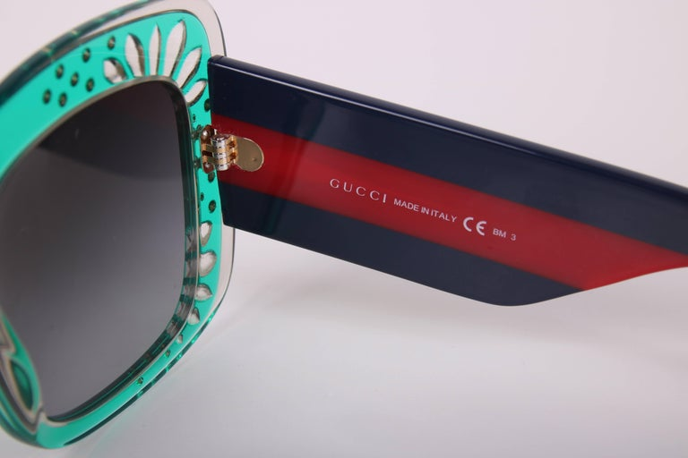 Gucci Green Oversized Square Frame Sunglasses w/Rhinestone Detail 8