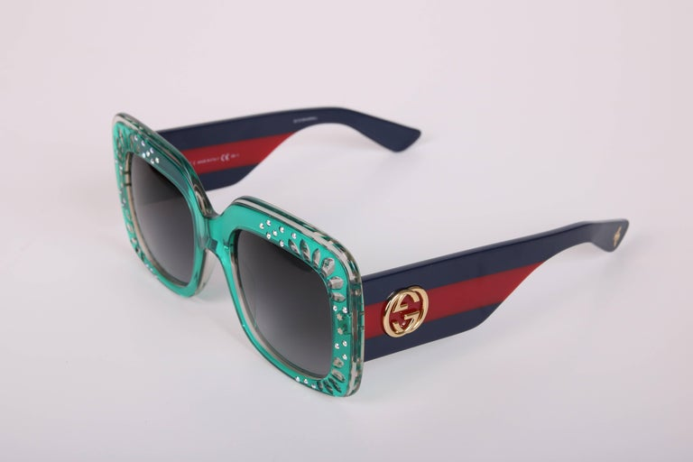 Gucci Green Oversized Square Frame Sunglasses w/Rhinestone Detail 4