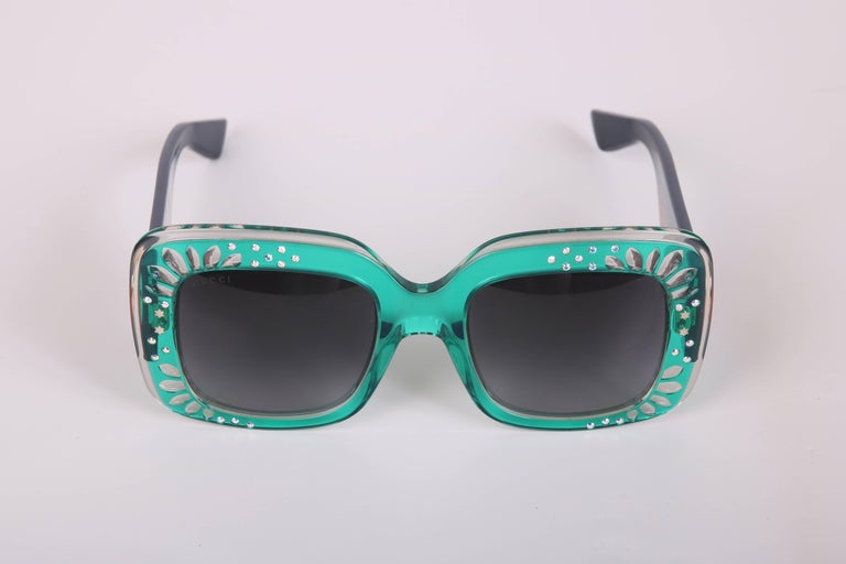 Gucci Green Oversized Square Frame Sunglasses w/Rhinestone Detail 5