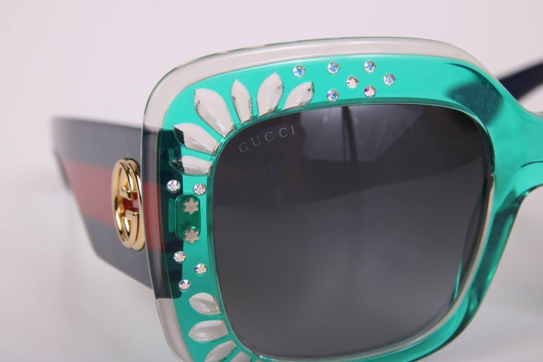 Gucci Green Oversized Square Frame Sunglasses w/Rhinestone Detail 9
