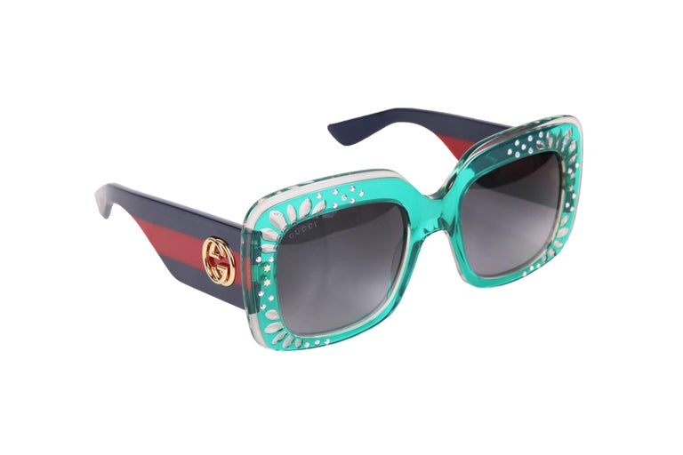 Gucci Green Oversized Square Frame Sunglasses w/Rhinestone Detail 2
