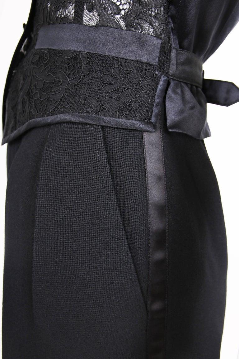 Yves Saint Laurent Black Tuxedo Pants & Lace Vest w/Matching Satin Trim  3