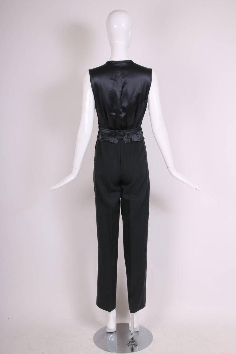 Women's Yves Saint Laurent Black Tuxedo Pants & Lace Vest w/Matching Satin Trim  For Sale