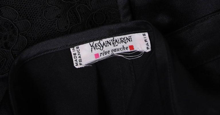 Yves Saint Laurent Black Tuxedo Pants & Lace Vest w/Matching Satin Trim  For Sale 1