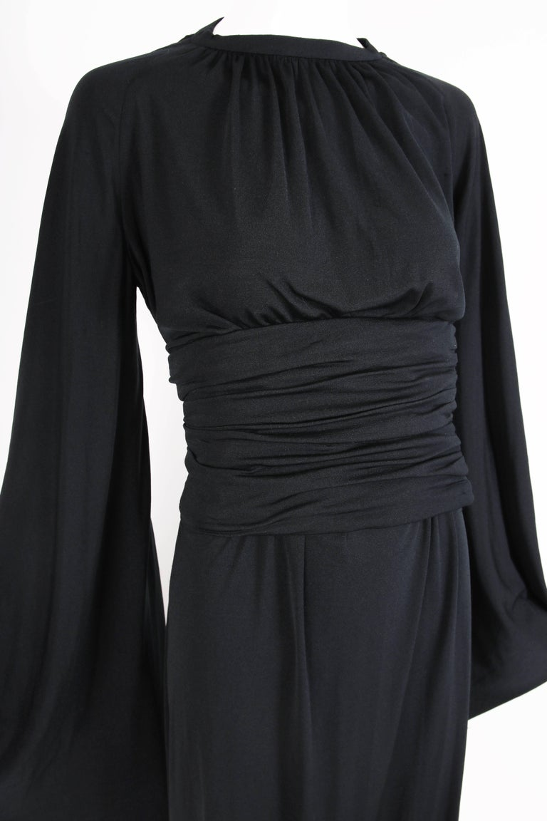 Ca. 1977 Pierre Cardin Haute Couture Black Harem Dress w/Pagoda Sleeves For Sale 2