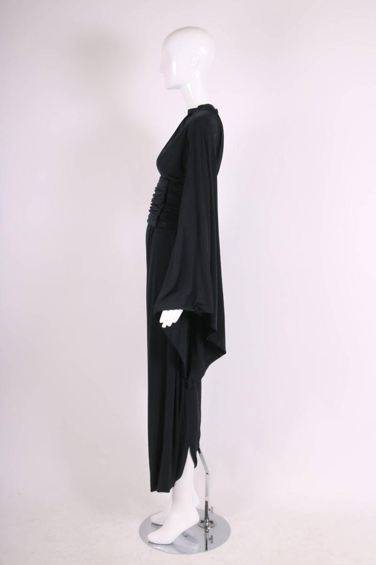 Women's Ca. 1977 Pierre Cardin Haute Couture Black Harem Dress w/Pagoda Sleeves For Sale