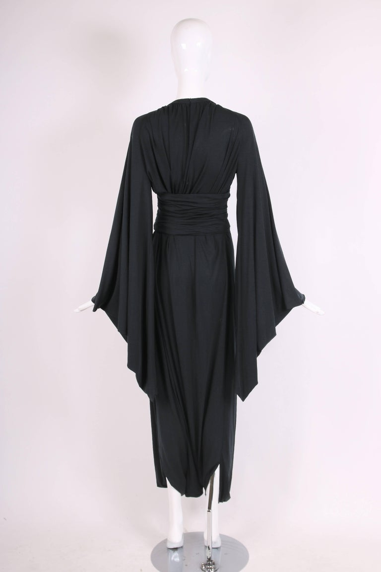 Ca. 1977 Pierre Cardin Haute Couture Black Harem Dress w/Pagoda Sleeves For Sale 1