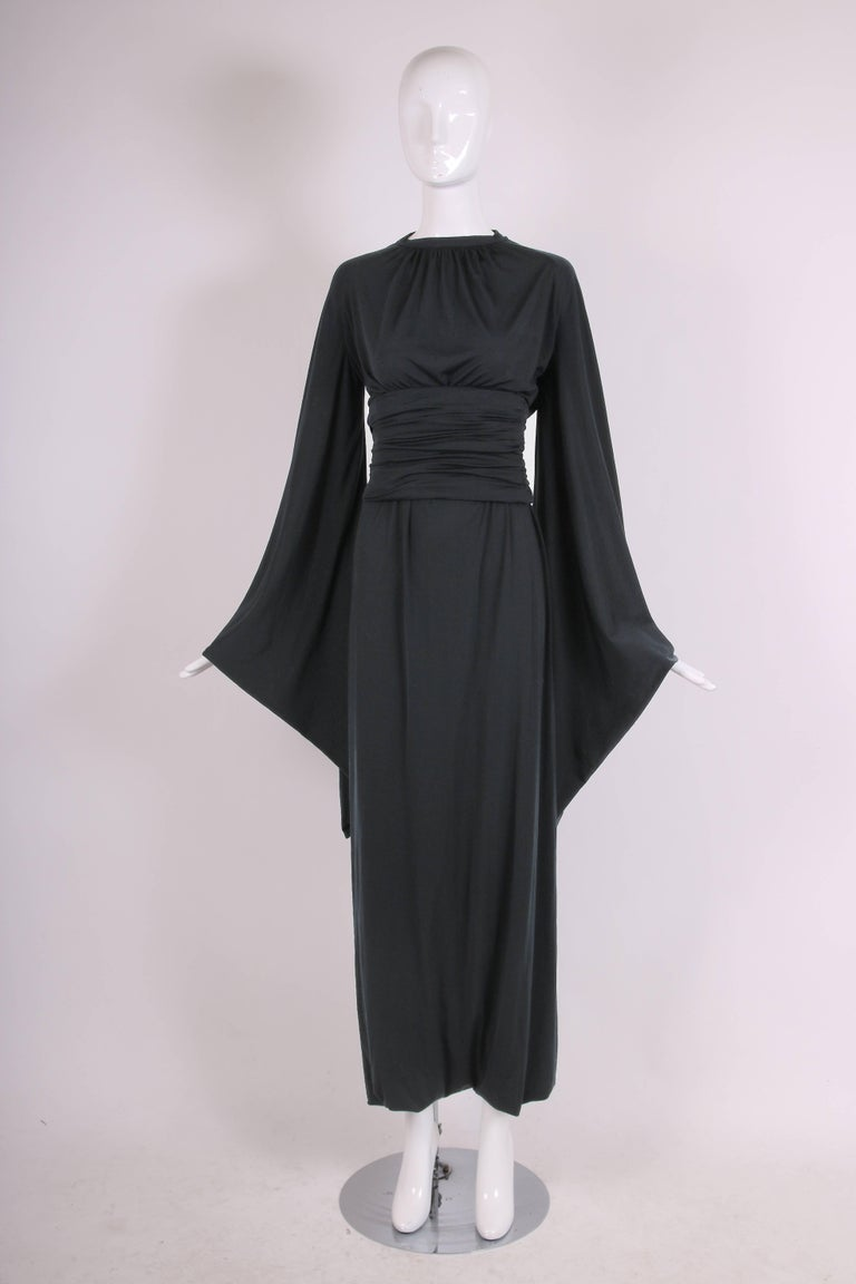 Ca. 1977 Pierre Cardin Haute Couture Black Harem Dress w/Pagoda Sleeves In Excellent Condition For Sale In Los Angeles, CA