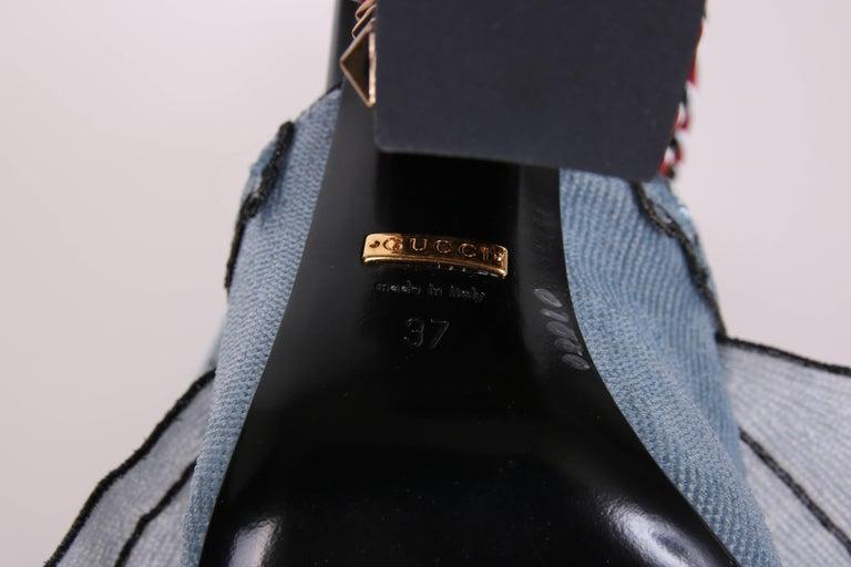 2016 Gucci Owen Ruffle Trompe L'Oeil Sequin Block-Heel Mules w/Snakes Sz 37 For Sale 3
