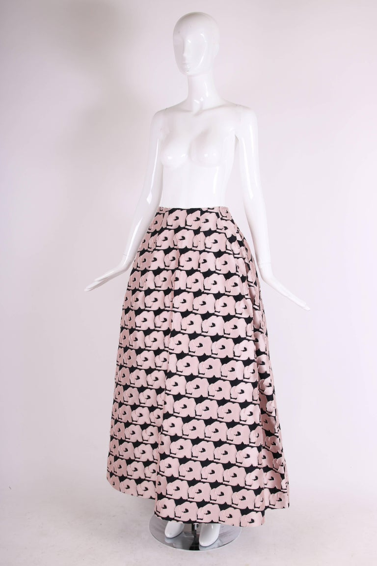 Beige 2013 Christian Dior by Raf Simons Silk Floral Voluminous Ball Skirt For Sale