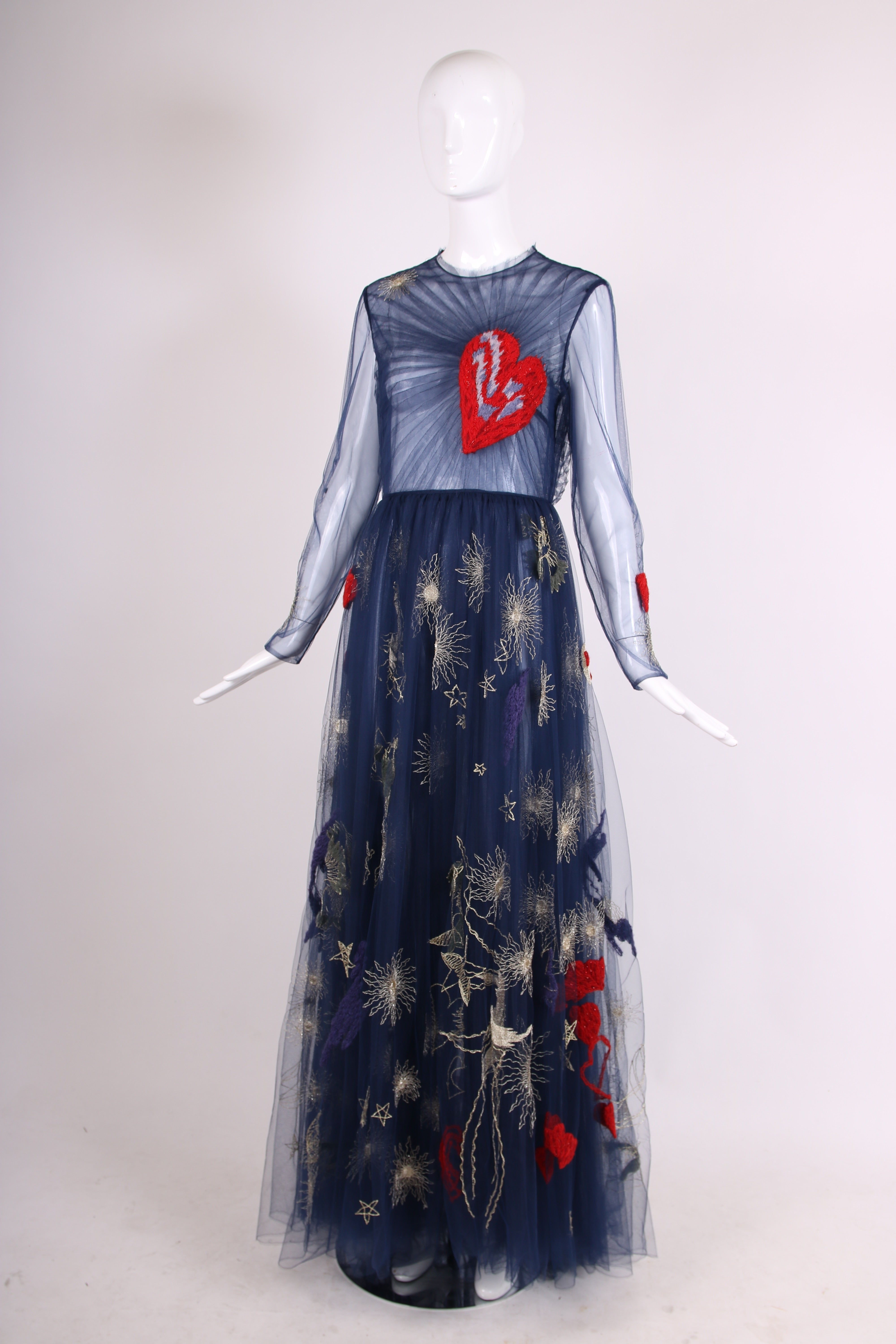 280d8c42a7dbb 2015 Valentino Embroidered Tulle Heart Gown at 1stdibs