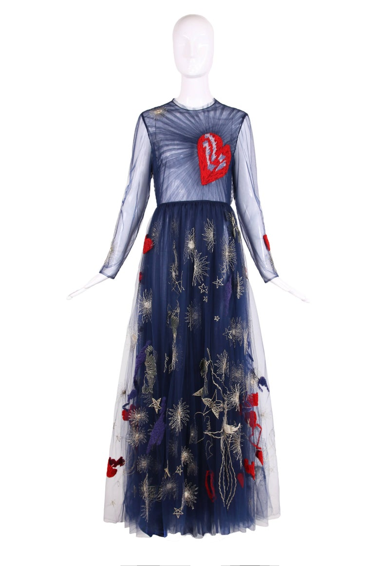 2017 Valentino Dark Blue Embroidered Tulle Gown With A Red Heart At The Chest There