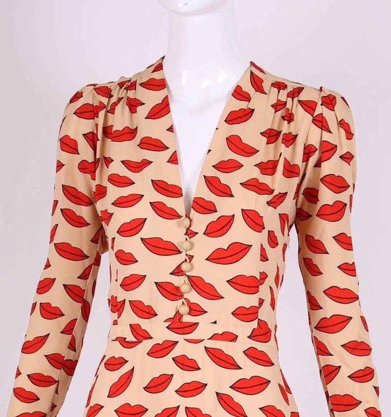 Women's 1971 Iconic Yves Saint Laurent Lips Print Dress For Sale
